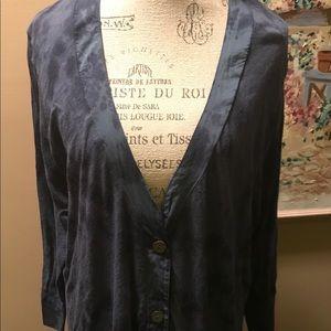 Calvin Klein tie-dye blue cardigan sweater top 1X